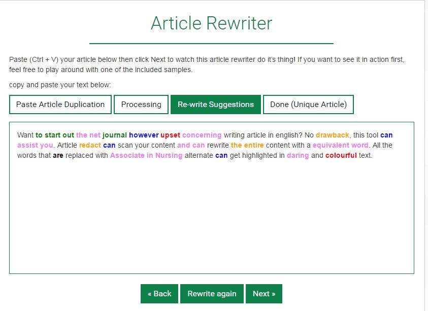 Article Rewriter seo tool