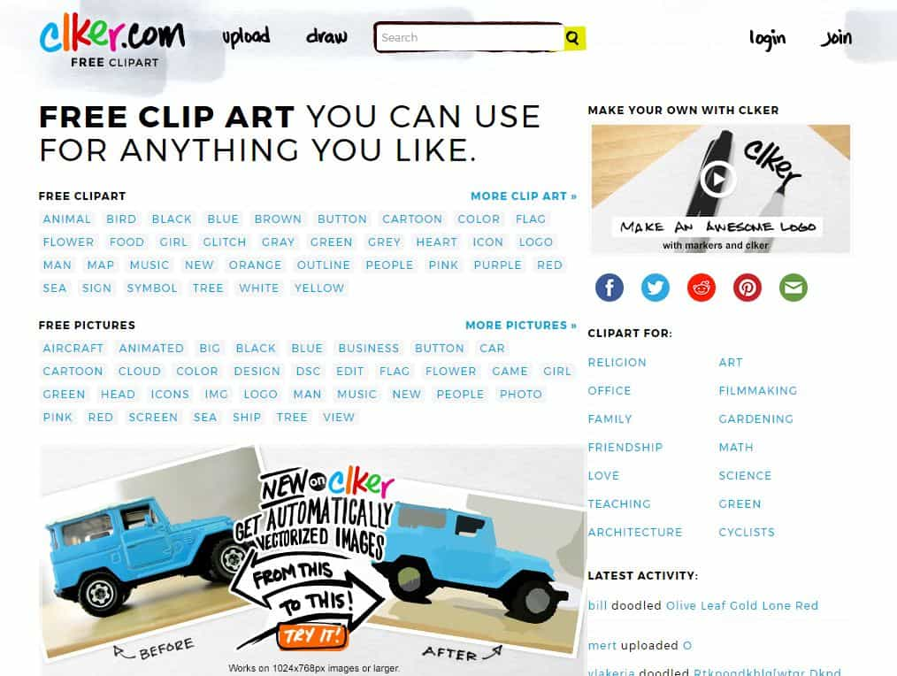 Clker.com free clipart website