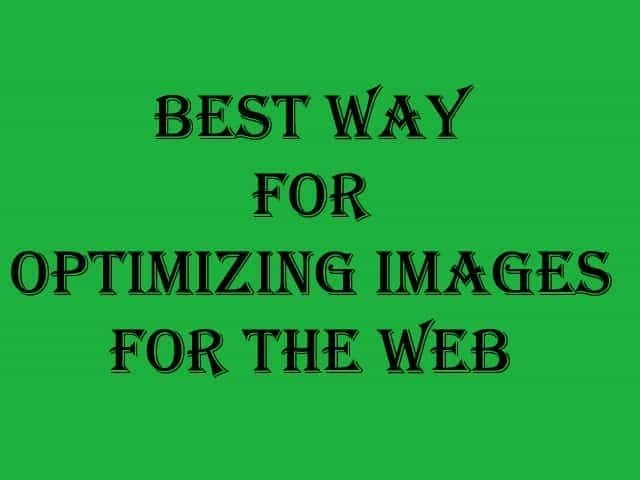 Best way for optimizing images for the web