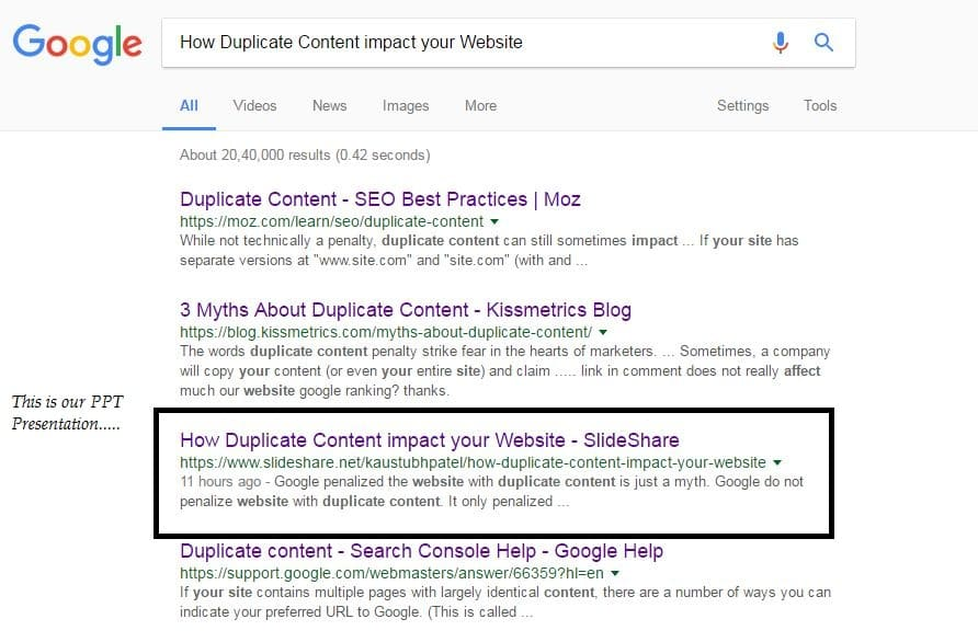 Duplicate content on your website impact SEO