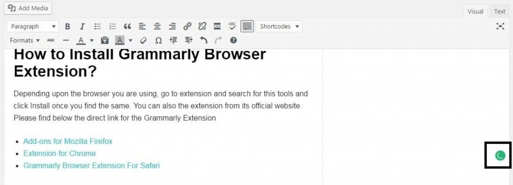 Grammarly Installed in WordPress
