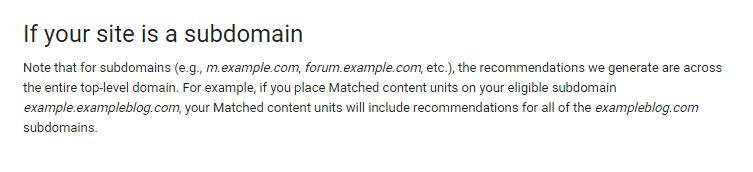 Match Content on Sub Domain