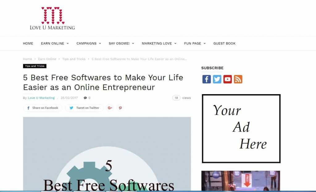 selling advertising on your website
