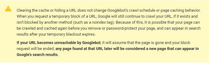 google URLs permanent removal