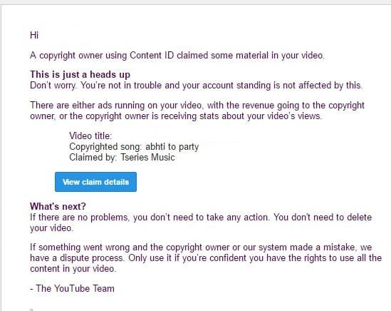 YouTube Claim Email