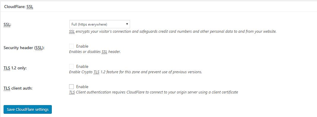 Full SSL Certificate on WordPress Total Cache CloudFlare Setting Page