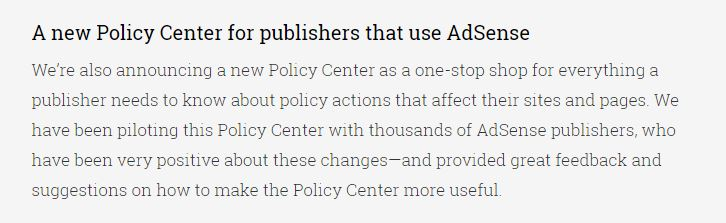 New Policy Center Platform for Adsense Publishers