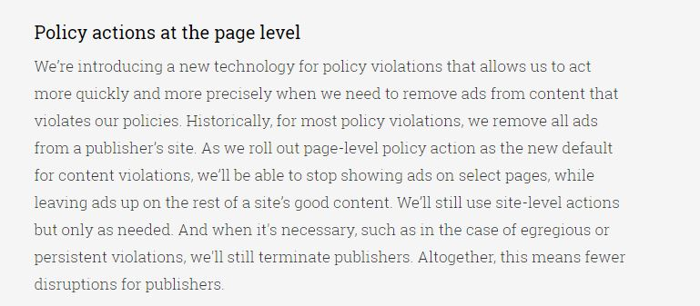 Policy action at page level