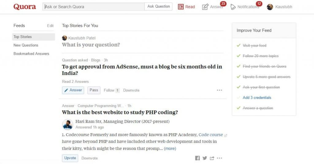 Quora Question and Answer Website