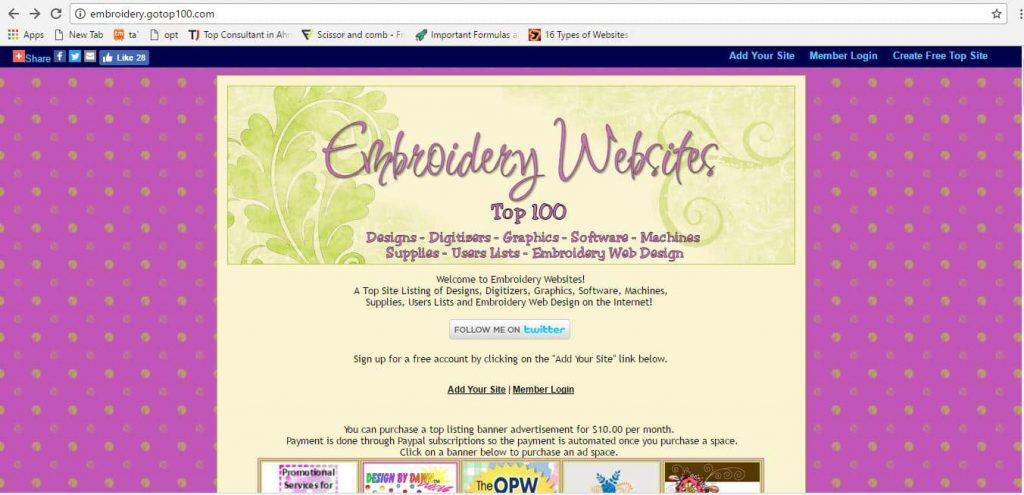 Top 100 Embroidery Design website