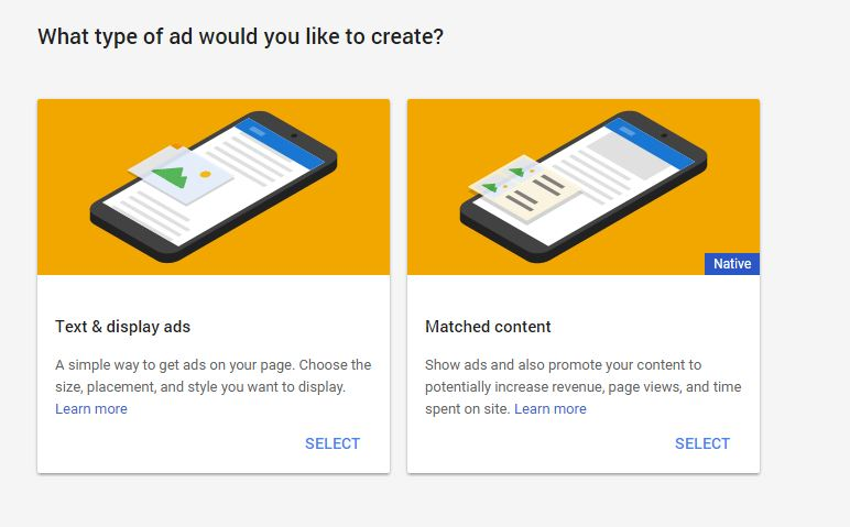 Which type of adsense ad you like to create