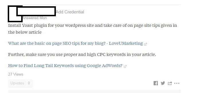 Blog link in your Quora Answer