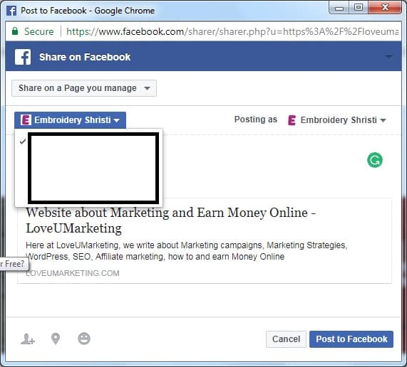 Share on Facebook Business Page You Manage