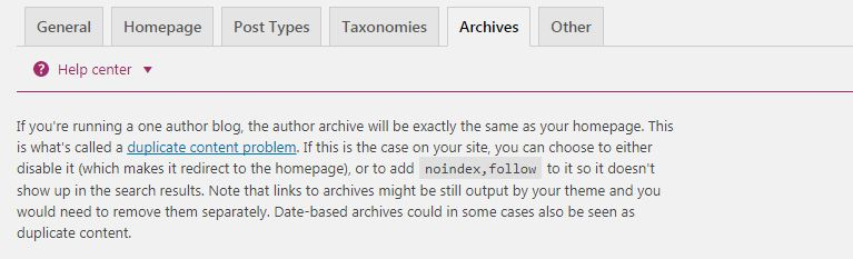 Note on Archives page of Yoast Plugin