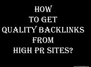 Quality Backlinks From High PR Sites