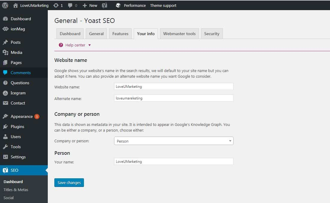 Yoast SEO Website Information Guide
