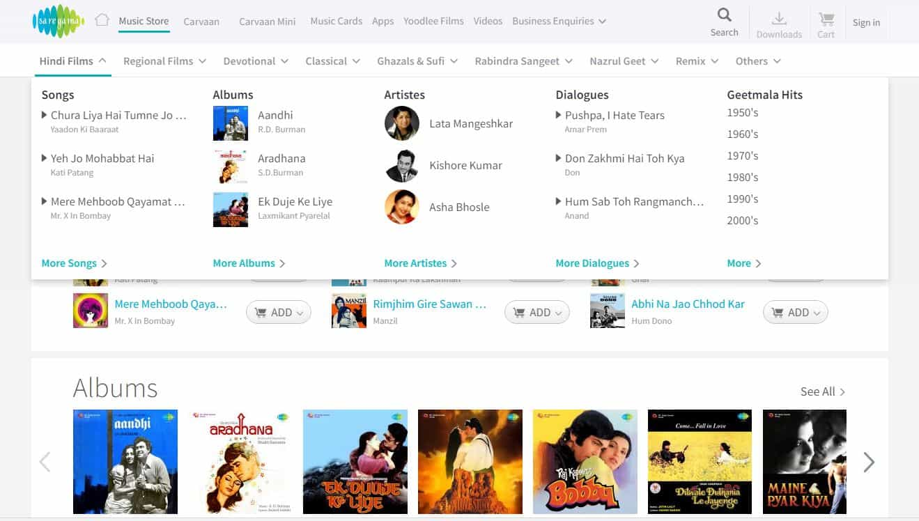 Saregama buy music and songs online