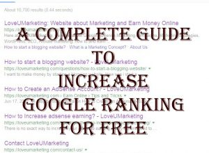 A Complete Guide To Increase Google Ranking For Free