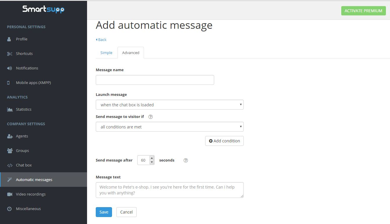 Add Automatic Message to Live Online Chat Box