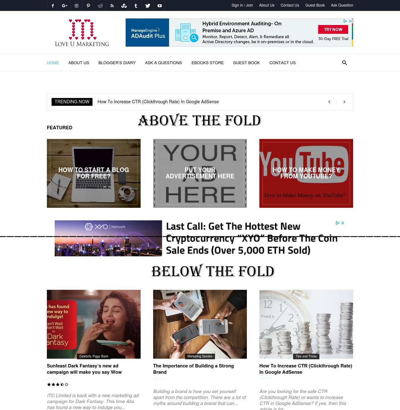 Above the Fold Google AdSense Placement