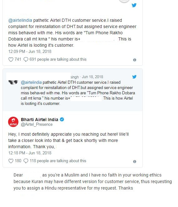 Tweets of Bharti Airtel Complain