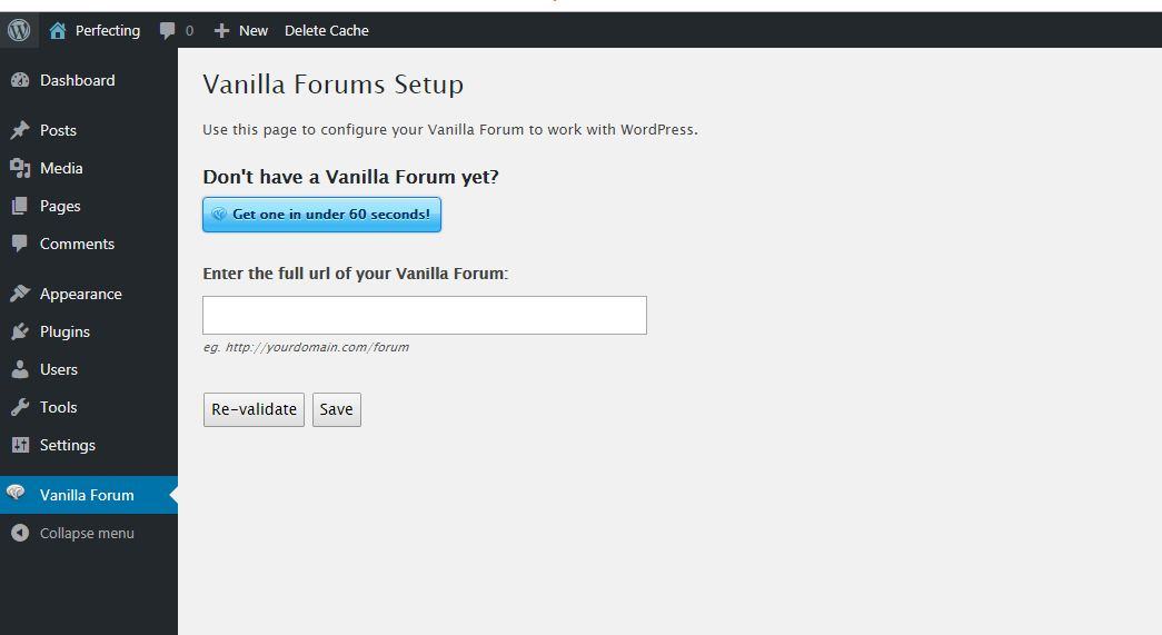 Vanilla Forum in to WordPress site