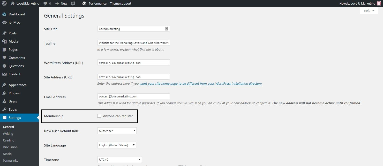 Users Registration on WordPress Blog