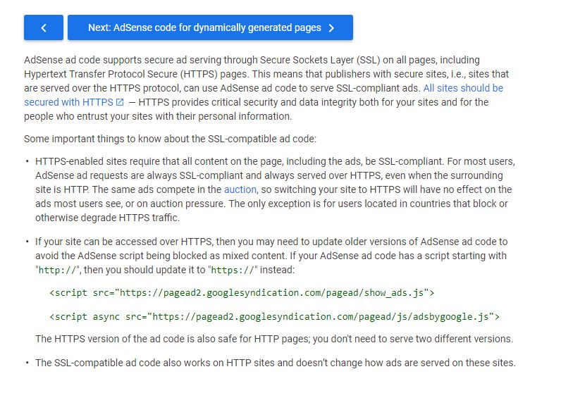 AdSense Code on HTTPS Enabled Sites