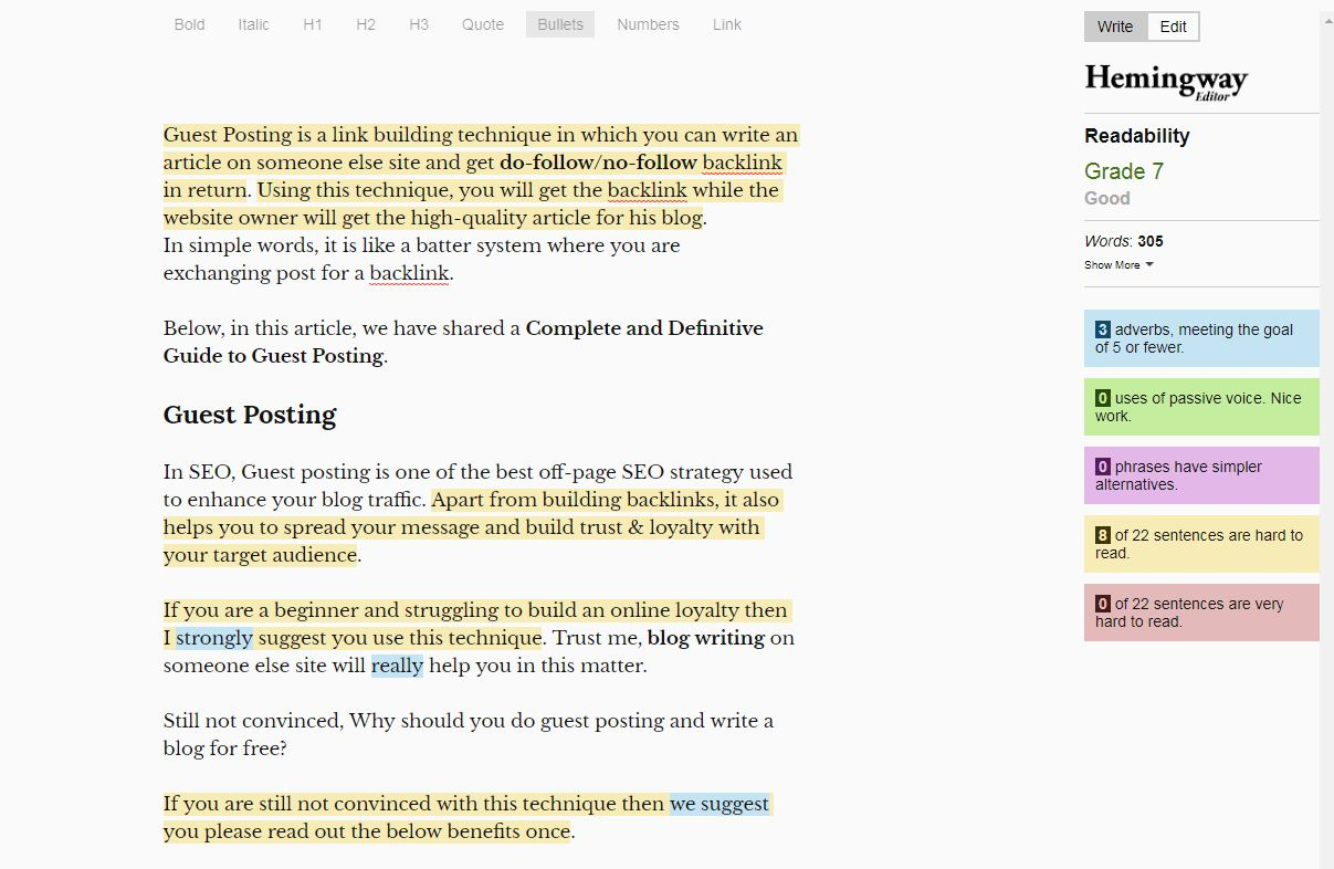 Edit Your English Written Article using Hemingway app