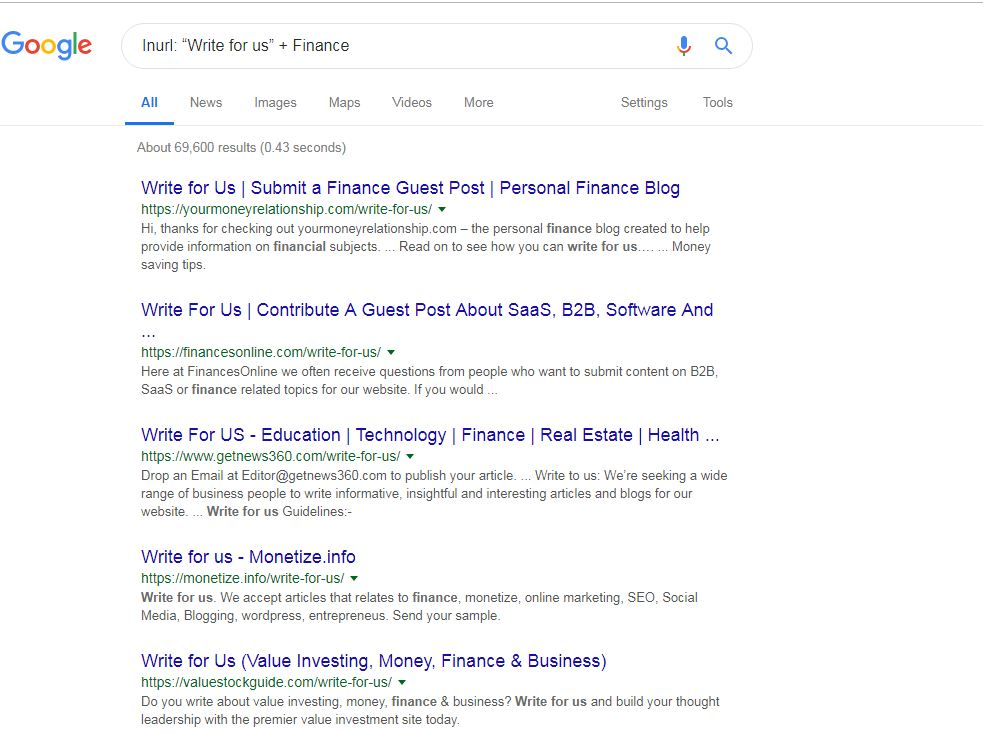 Find Guest Posting Sites for Finance