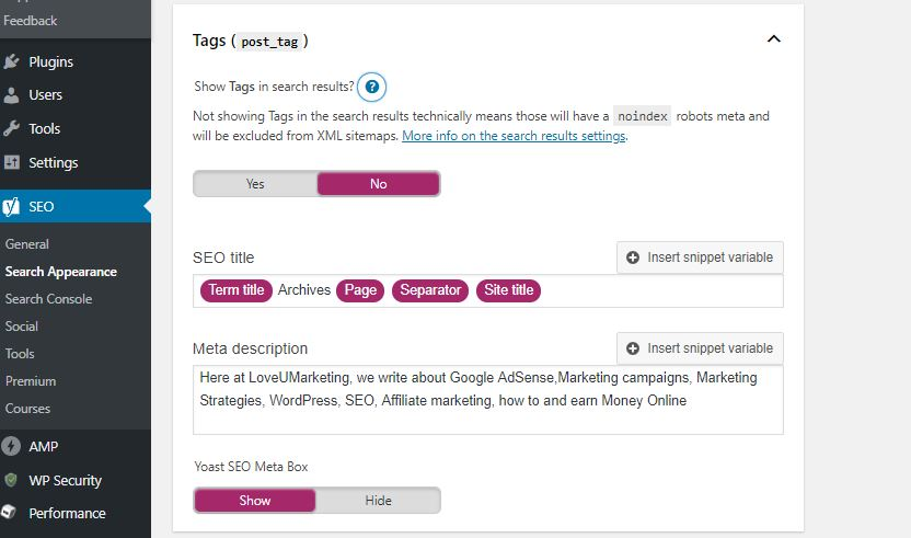 Yoast No Index Tags in WordPress