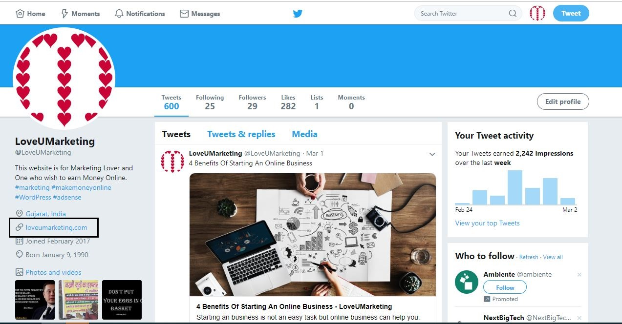 Twitter Profile Page Backlink