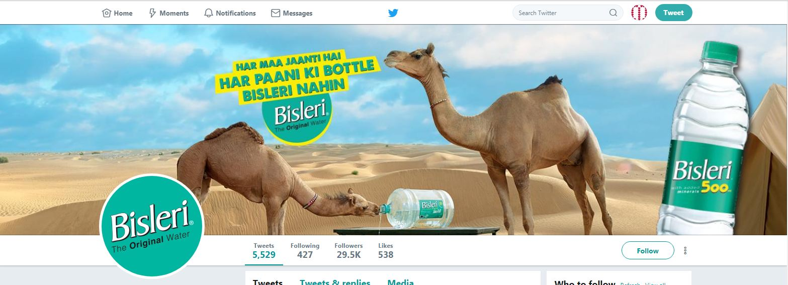 Bisleri Twitter Account