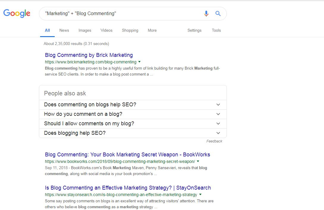 Find Blog Commenting Sites Using Google