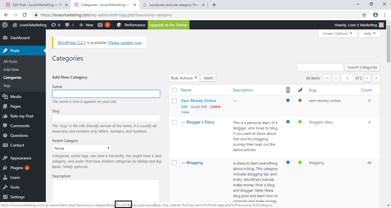 How to find the Category Id in the WordPress Blog