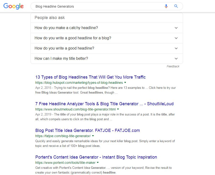 Use Search Engine To Find Best Blog Headlines