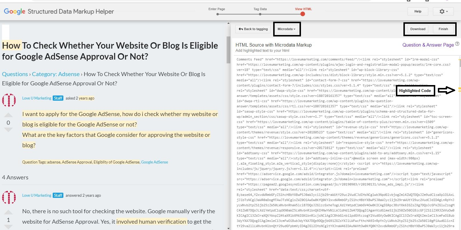 Create HTML page for Micro Data Markup Code