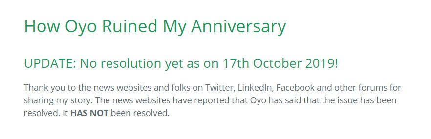 OYO Rooms Updated Problem Resolved Ruined My Anniversary