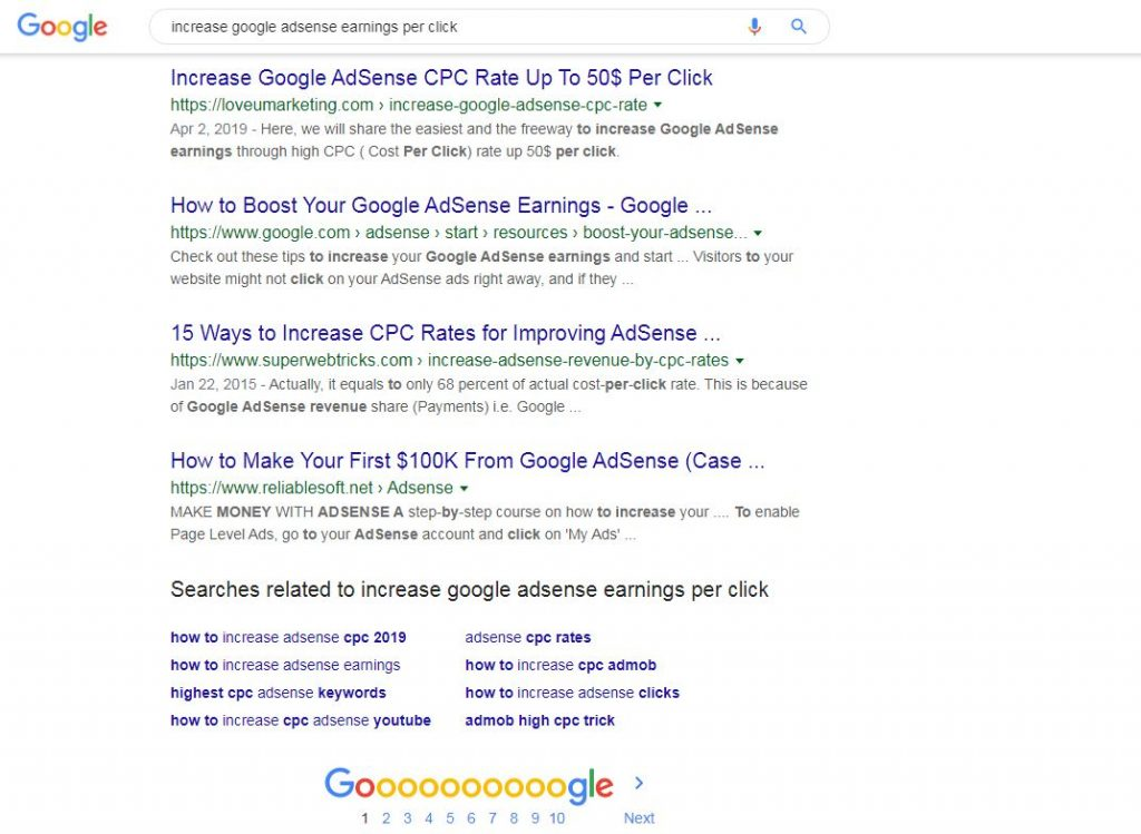 First Page Of The Google