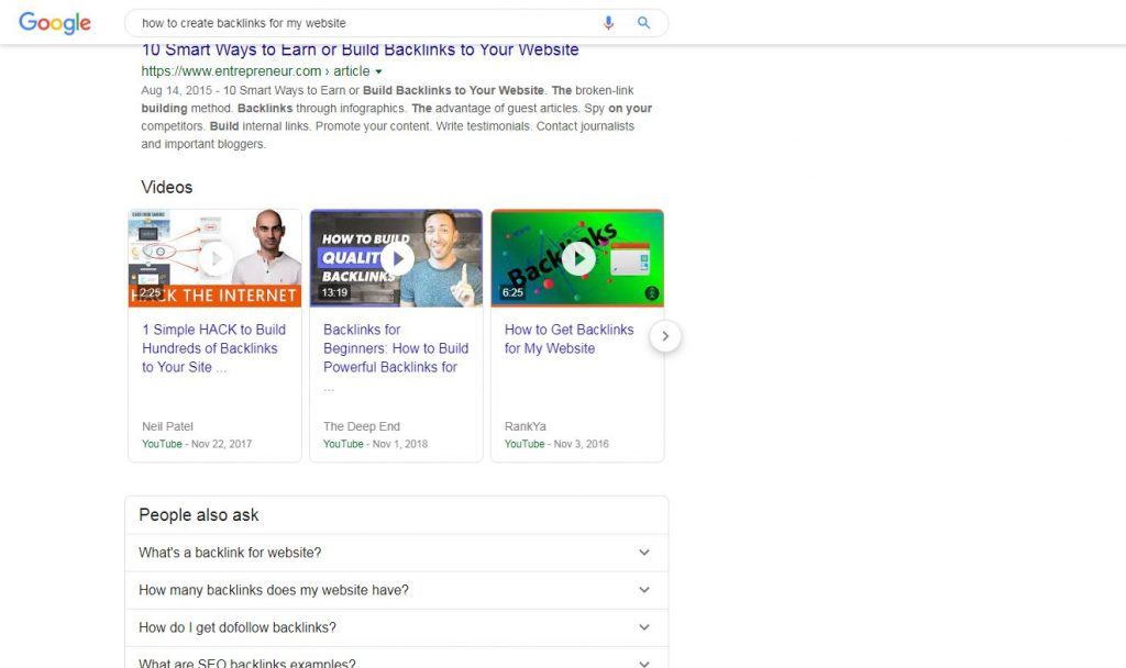 Videos Ranking on the first page of the Google